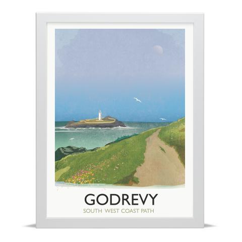 Place in Print Rick Smith Godrevy Travel Poster Art Print 30x40cm White Frame
