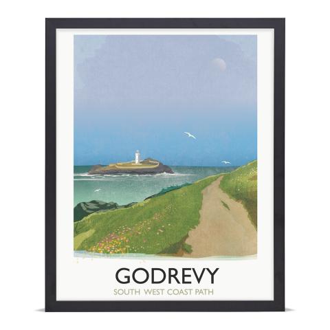 Place in Print Rick Smith Godrevy Travel Poster Art Print 40x50cm Black Frame