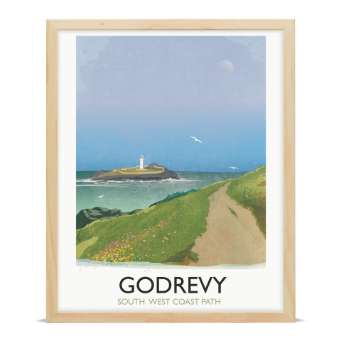Place in Print Rick Smith Godrevy Travel Poster Art Print 40x50cm Wood Frame