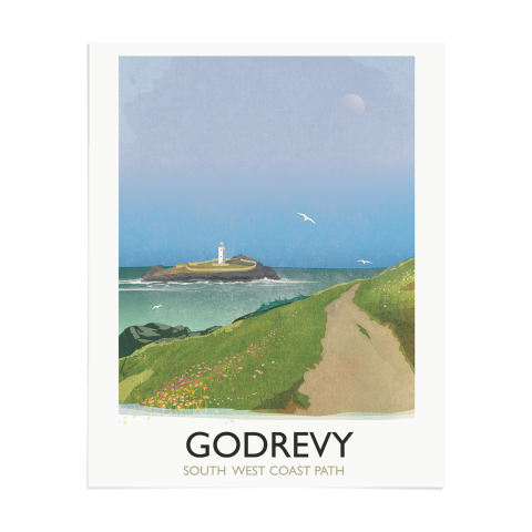 Place in Print Rick Smith Godrevy Travel Poster Art Print 40x50cm Print-only