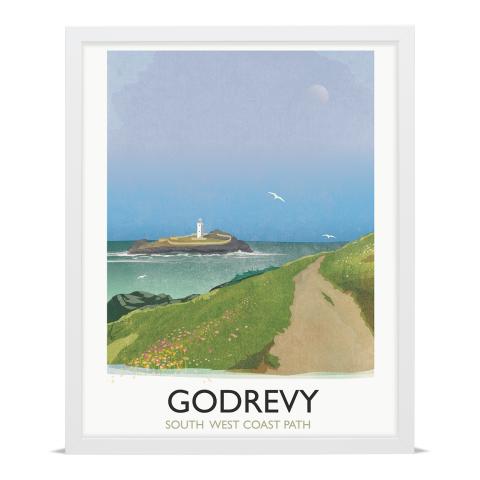 Place in Print Rick Smith Godrevy Travel Poster Art Print 40x50cm White Frame