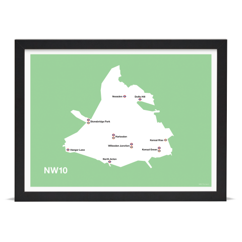 Place in Print MDL Thomson NW10 Postcode Map Green Art Print Black Frame