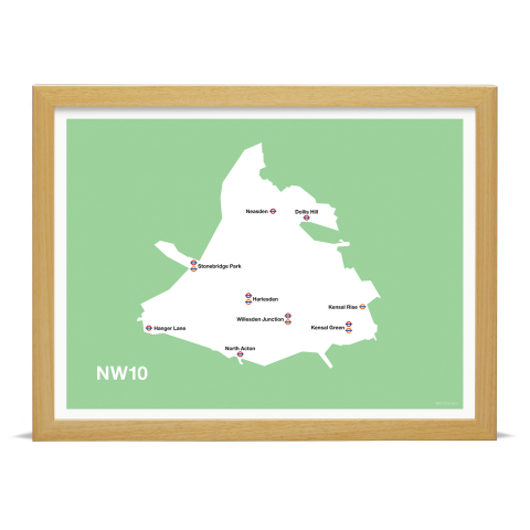 Place in Print MDL Thomson NW10 Postcode Map Green Art Print Wood Frame