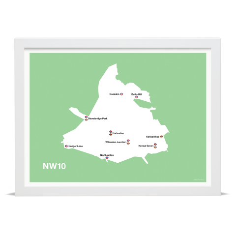 Place in Print MDL Thomson NW10 Postcode Map Green Art Print White Frame