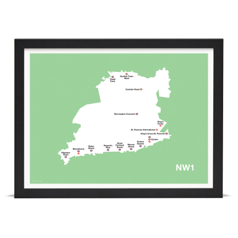 Place in Print MDL Thomson NW1 Postcode Map Green Art Print Black Frame