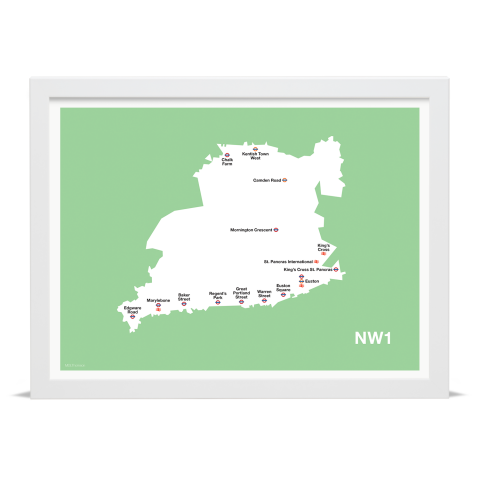 Place in Print MDL Thomson NW1 Postcode Map Green Art Print White Frame