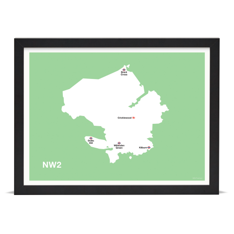 Place in Print MDL Thomson NW2 Postcode Map Green Art Print Black Frame