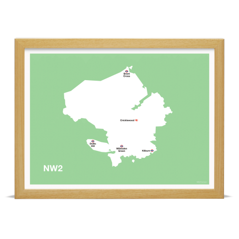 Place in Print MDL Thomson NW2 Postcode Map Green Art Print Wood Frame