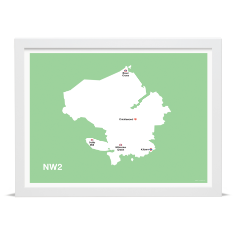 Place in Print MDL Thomson NW2 Postcode Map Green Art Print White Frame