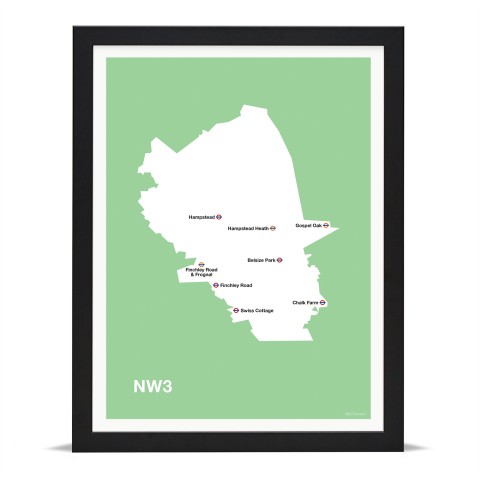 Place in Print MDL Thomson NW3 Postcode Map Green Art Print Black Frame