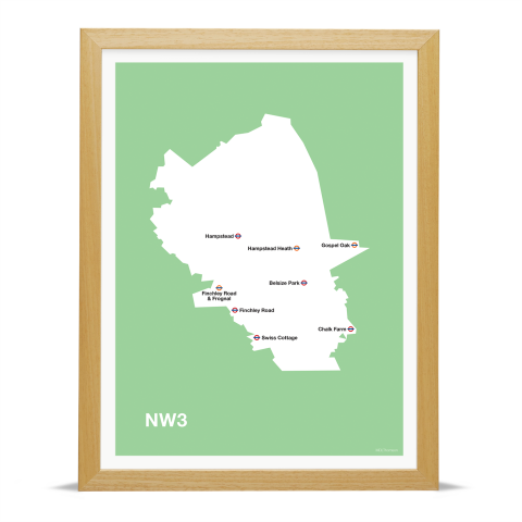 Place in Print MDL Thomson NW3 Postcode Map Green Art Print Wood Frame