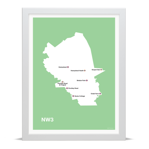 Place in Print MDL Thomson NW3 Postcode Map Green Art Print White Frame