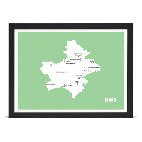 Place in Print MDL Thomson NW6 Postcode Map Green Art Print Black Frame