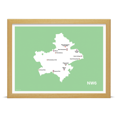 Place in Print MDL Thomson NW6 Postcode Map Green Art Print Wood Frame