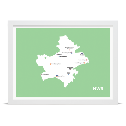 Place in Print MDL Thomson NW6 Postcode Map Green Art Print White Frame