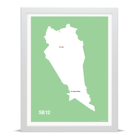 Place in Print MDL Thomson SE12 Postcode Map Green Art Print White Frame