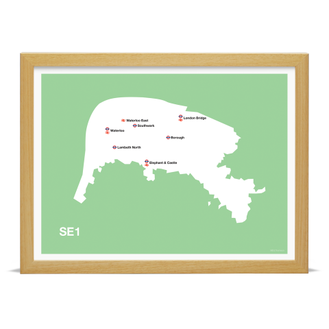 Place in Print MDL Thomson SE1 Postcode Map Green Art Print Wood Frame