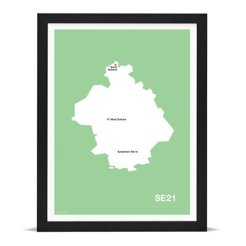Place in Print MDL Thomson SE21 Postcode Map Green Art Print Black Frame