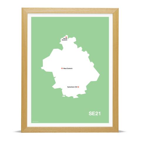 Place in Print MDL Thomson SE21 Postcode Map Green Art Print Wood Frame