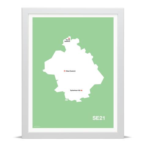 Place in Print MDL Thomson SE21 Postcode Map Green Art Print White Frame