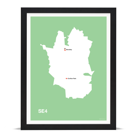 Place in Print MDL Thomson SE4 Postcode Map Green Art Print Black Frame