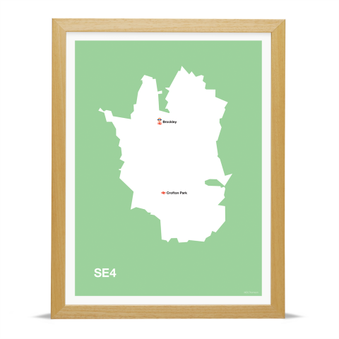 Place in Print MDL Thomson SE4 Postcode Map Green Art Print Wood Frame