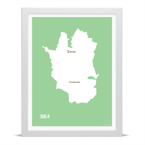 Place in Print MDL Thomson SE4 Postcode Map Green Art Print White Frame
