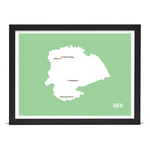 Place in Print MDL Thomson SE6 Postcode Map Green Art Print Black Frame