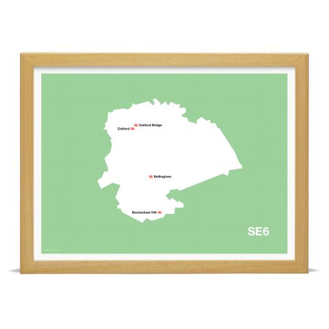 Place in Print MDL Thomson SE6 Postcode Map Green Art Print Wood Frame
