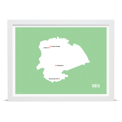 Place in Print MDL Thomson SE6 Postcode Map Green Art Print White Frame
