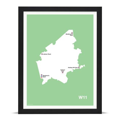 Place in Print MDL Thomson W11 Postcode Map Green Art Print Black Frame
