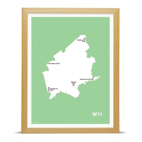 Place in Print MDL Thomson W11 Postcode Map Green Art Print Wood Frame