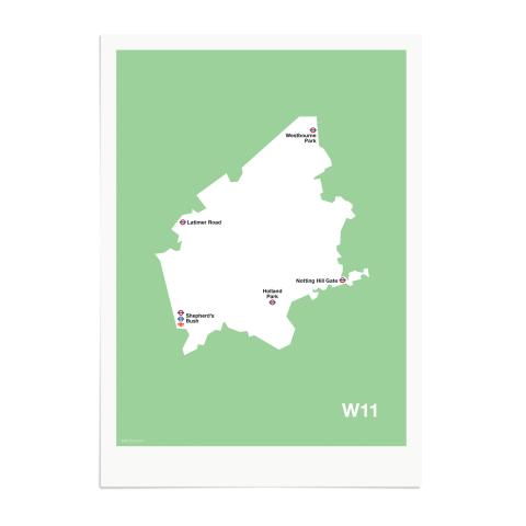 Place in Print MDL Thomson W11 Postcode Map Green Art Print Unframed