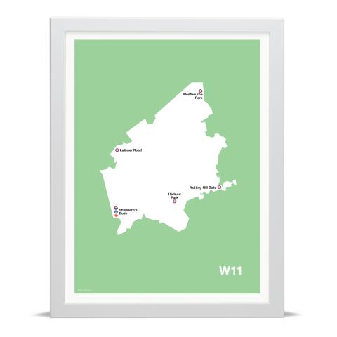Place in Print MDL Thomson W11 Postcode Map Green Art Print White Frame