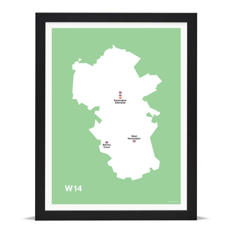 Place in Print MDL Thomson W14 Postcode Map Green Art Print Black Frame