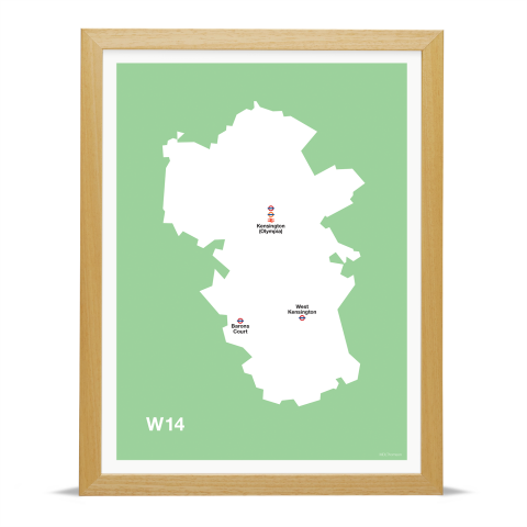 Place in Print MDL Thomson W14 Postcode Map Green Art Print Wood Frame