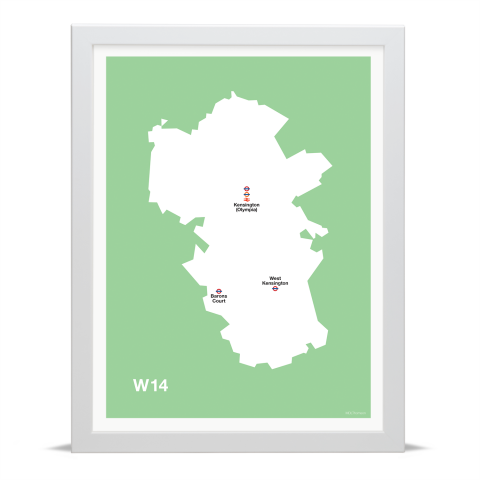 Place in Print MDL Thomson W14 Postcode Map Green Art Print White Frame