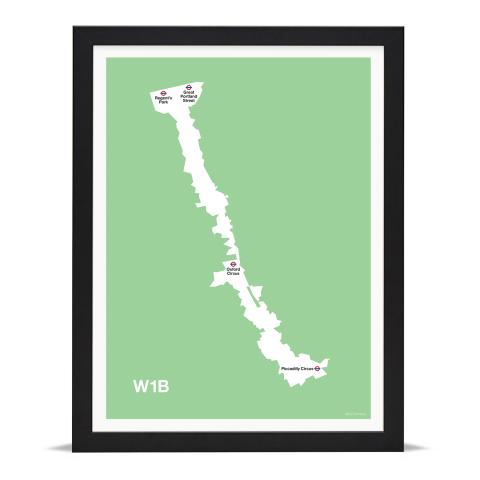 Place in Print MDL Thomson W1B Postcode Map Green Art Print Black Frame