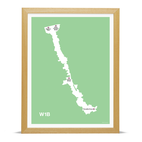 Place in Print MDL Thomson W1B Postcode Map Green Art Print Wood Frame