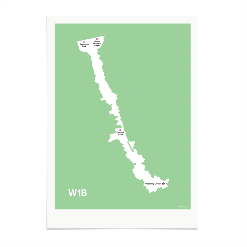 Place in Print MDL Thomson W1B Postcode Map Green Art Print Unframed