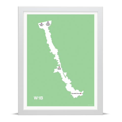 Place in Print MDL Thomson W1B Postcode Map Green Art Print White Frame