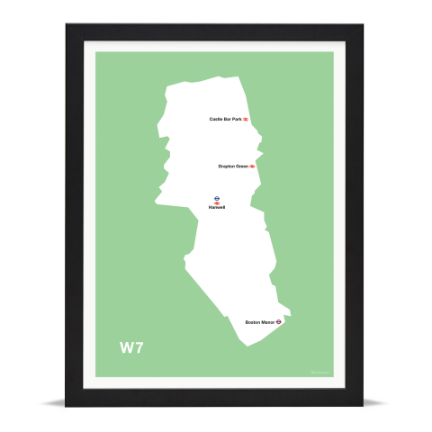 Place in Print MDL Thomson W7 Postcode Map Green Art Print Black Frame
