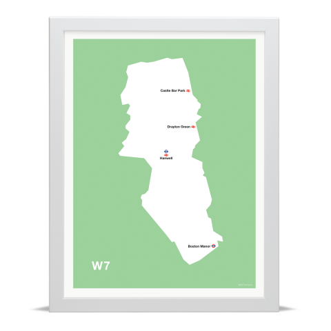 Place in Print MDL Thomson W7 Postcode Map Green Art Print White Frame