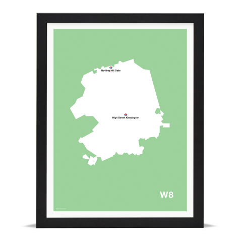 Place in Print MDL Thomson W8 Postcode Map Green Art Print Black Frame