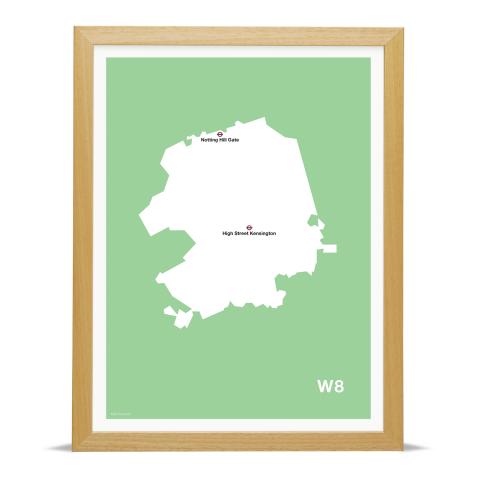 Place in Print MDL Thomson W8 Postcode Map Green Art Print Wood Frame
