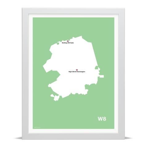 Place in Print MDL Thomson W8 Postcode Map Green Art Print White Frame