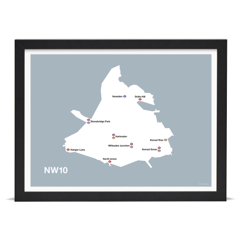 Place in Print MDL Thomson NW10 Postcode Map Grey Art Print Black Frame