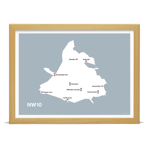 Place in Print MDL Thomson NW10 Postcode Map Grey Art Print Wood Frame