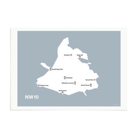 Place in Print MDL Thomson NW10 Postcode Map Grey Art Print Unframed