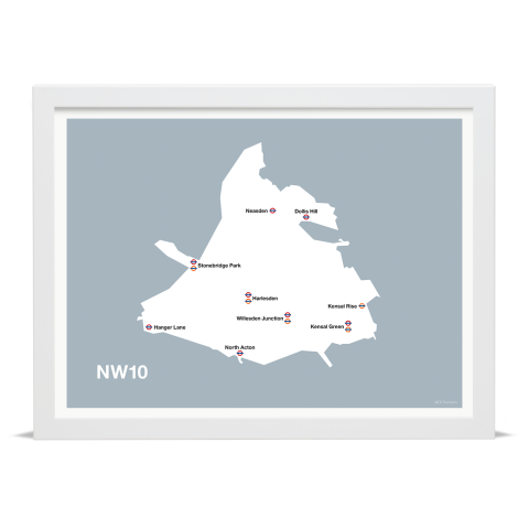 Place in Print MDL Thomson NW10 Postcode Map Grey Art Print White Frame